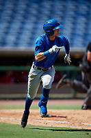 Toronto Blue Jays shortstop Kevin Vicuna (58) runs to first base during a Florida Instructional League game against the Philadelphia Phillies on September 24, 2018 at Spectrum Field in Clearwater, Florida.  (Mike Janes/Four Seam Images)