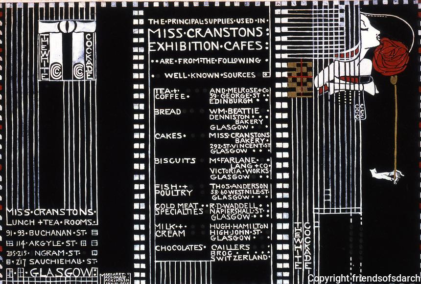 Macintosh Collection: Hunterian Art Gallery, U. of Glasgow. Menu Design 1911.