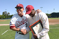 6 May 2006: Mark Marquess (left), and Jeffrey Hammonds, during Stanford's 5-1 loss against California Golden Bears at Sunken Diamond in Stanford, CA. Stanford Baseball announced its All-Time Starting 9 during a pre-game ceremony. The nine players selected for the team, chosen by the fans, represent the best of the first 30 years of the distinguished career of the Stanford head coach.