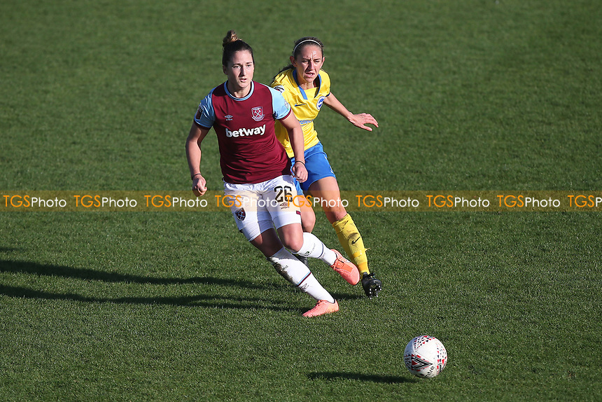 Laura Vetterlein of West Ham and Aileen Whelan of Brighton during West Ham United Women vs Brighton & Hove Albion Women, Barclays FA Women's Super League Football at the Chigwell Construction Stadium on 15th November 2020