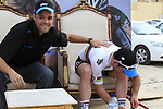 Press Officer Nick Howes with stage winner World Champion Mark Cavendish (GBR) Sky Procycling at the end of Stage 3 of the 2012 Tour of Qatar running 146.5km from Dukhan Souq, Dukhan to Al Gharafa, Qatar. 7th February 2012.<br /> (Photo Eoin Clarke/Newsfile)