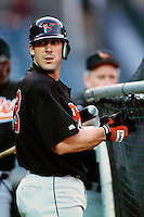 Tommy Davis of the Baltimore Orioles during a game against the Anaheim Angels at Angel Stadium circa 1999 in Anaheim, California. (Larry Goren/Four Seam Images)