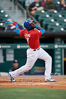 Buffalo Bisons Anthony Alford (7) follows through on a swing during a game against the Scranton/Wilkes-Barre RailRiders on May 18, 2018 at Coca-Cola Field in Buffalo, New York.  Buffalo defeated Scranton/Wilkes-Barre 5-1.  (Mike Janes/Four Seam Images)