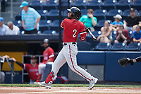 Luis García (2) of the Rochester Red Wings follows through on his swing against the Scranton/Wilkes-Barre RailRiders at PNC Field on July 25, 2021 in Moosic, Pennsylvania. (Brian Westerholt/Four Seam Images)