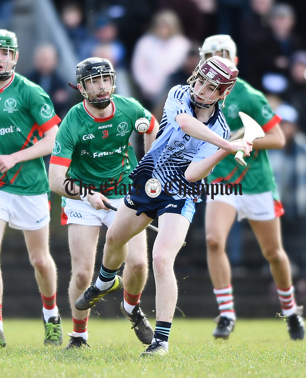 Fergus Madden of Scariff Community College in action against Dylan Delaney of St Fergal's College during their All-Ireland Colleges final at Toomevara. Photograph by John Kelly.