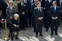 Former French Presidents Francois Hollande (R) and Nicolas Sarkozy attend a tribute ceremony for French politician and Holocaust survivor Simone Veil in the courtyard of the Invalides in Paris, France, on July 5, 2017. Holocaust survivors are joining France's president and European dignitaries at a special memorial ceremony for Simone Veil, who rose from the horrors of Nazi death camps to become president of the European Parliament and one of France's most revered politicians. y.<br /> # CEREMONIE D'HOMMAGE A SIMONE VEIL AUX INVALIDES