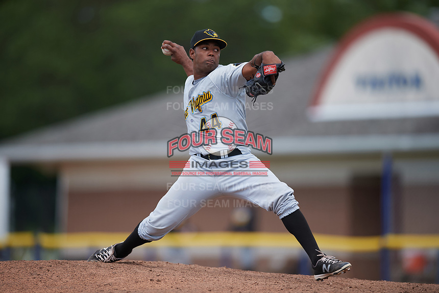 West Virginia Black Bears relief pitcher Joel Cesar (44) delivers a pitch during a game against the Batavia Muckdogs on June 25, 2017 at Dwyer Stadium in Batavia, New York.  West Virginia defeated Batavia 6-4 in the completion of the game started on June 24th.  (Mike Janes/Four Seam Images)