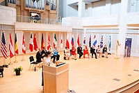 USA International Harp Competition Executive Director Erin Brooker-Miller speaks during the opening ceremony of the 11th USA International Harp Competition at Indiana University in Bloomington, Indiana on Wednesday, July 3, 2019. (Photo by James Brosher)