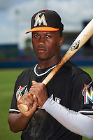 GCL Marlins outfielder Terry Bennett (27) poses for a photo before the second game of a doubleheader against the GCL Mets on July 24, 2015 at the St. Lucie Sports Complex in St. Lucie, Florida.  GCL Marlins defeated the GCL Mets 5-4.  (Mike Janes/Four Seam Images)