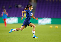 ORLANDO CITY, FL - FEBRUARY 18: Alex Morgan #13 of the United States warming up during a game between Canada and USWNT at Exploria Stadium on February 18, 2021 in Orlando City, Florida.