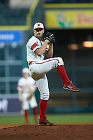 Louisiana Ragin' Cajuns relief pitcher Brock Batty (4) in action against the Mississippi State Bulldogs in game three of the 2018 Shriners Hospitals for Children College Classic at Minute Maid Park on March 2, 2018 in Houston, Texas.  The Bulldogs defeated the Ragin' Cajuns 3-1.   (Brian Westerholt/Four Seam Images)