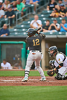 Chadwick Tromp (12) of the Sacramento River Cats at bat against the Salt Lake Bees at Smith's Ballpark on August 16, 2021 in Salt Lake City, Utah. The Bees defeated the River Cats 6-0. (Stephen Smith/Four Seam Images)