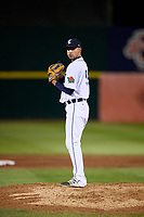 Connecticut Tigers relief pitcher Juan Aguilera (54) gets ready to deliver a pitch during a game against the Hudson Valley Renegades on August 20, 2018 at Dodd Stadium in Norwich, Connecticut.  Hudson Valley defeated Connecticut 3-1.  (Mike Janes/Four Seam Images)