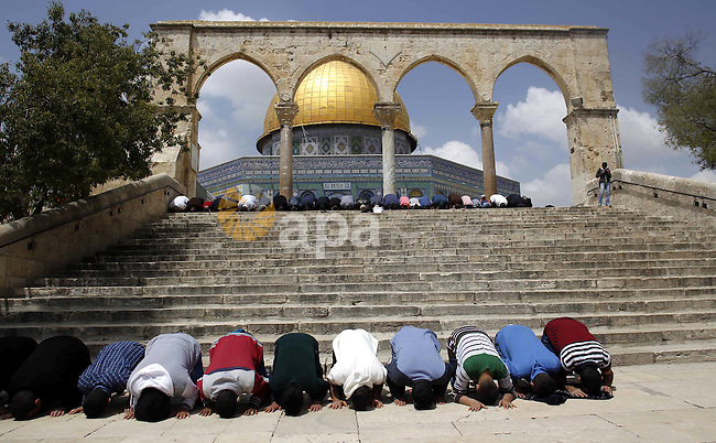 Palestinian Muslim worshipers attend Friday prayers in front of the Dome of the Rock mosque, at the al-Aqsa mosque compound, in Jerusalem's old city, on April 17, 2015. Photo by Saeb Awad
