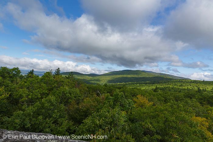 Scenic veiw from Rattlesnake Mountain in Rumney, New Hampshire on a cloudy day.