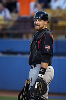Tim Federowicz (18) of the Sacramento River Cats during a game against the Las Vegas 51s at Cashman Field on June 15, 2017 in Las Vegas, Nevada. Las Vegas defeated Sacramento, 12-4. (Larry Goren/Four Seam Images)
