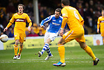 Motherwell v St Johnstone.....20.01.13      SPL.Chris Millar's shot goes over the bar.Picture by Graeme Hart..Copyright Perthshire Picture Agency.Tel: 01738 623350  Mobile: 07990 594431