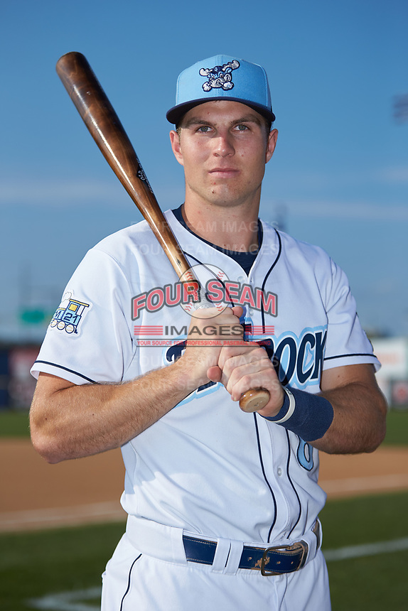 Wilmington Blue Rocks outfielder Brewer Hicklen (8) poses for a photo prior to the game against the Fayetteville Woodpeckers at Frawley Stadium on June 6, 2019 in Wilmington, Delaware. The Woodpeckers defeated the Blue Rocks 8-1. (Brian Westerholt/Four Seam Images)