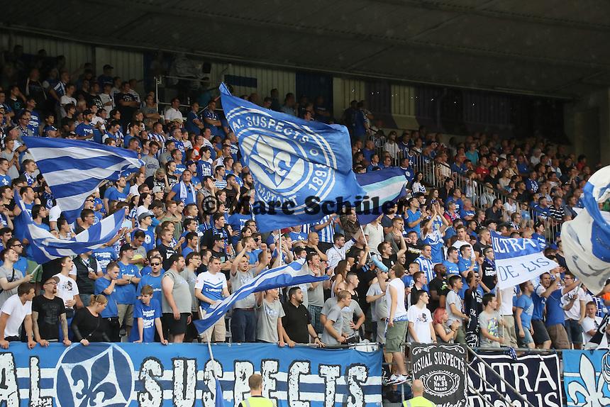 Fans des SV Darmstadt 98 feiern - SV Darmstadt 98 vs. SV Sandhausen, Stadion am Boellenfalltor