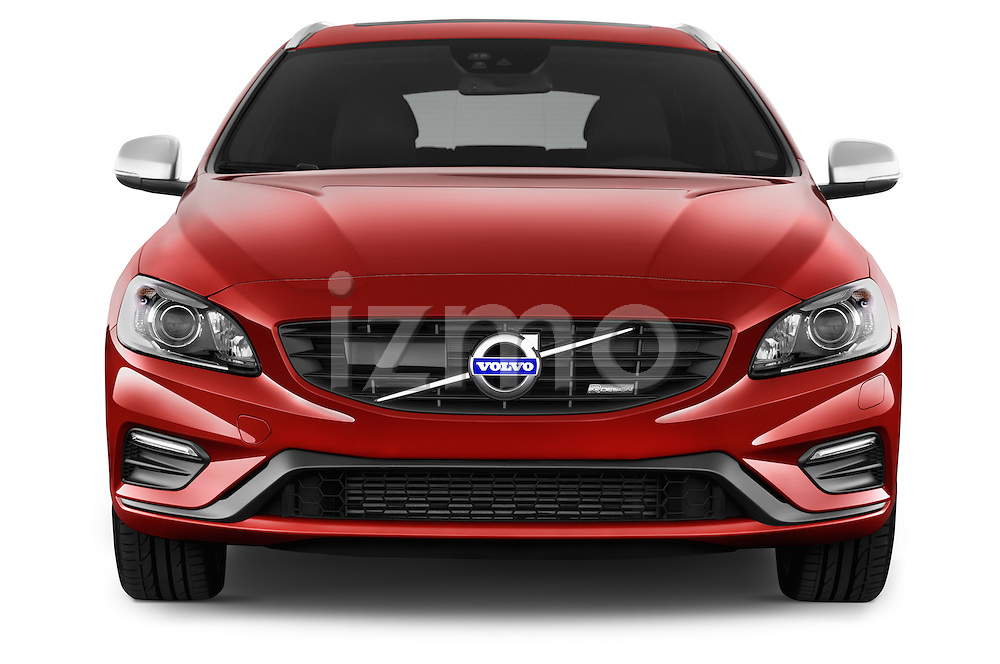 Car photography straight front view of a 2014 Volvo V60 Summum R-design 5 Door Wagon 2WD Front View