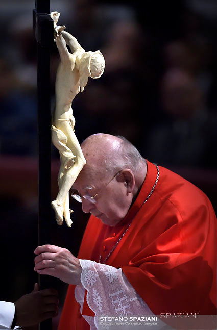 Cardinal Karl-Josef Rauber,Pope Francis the ceremony of the Good Friday Passion of the Lord Mass in Saint Peter's Basilica at the Vatican.March 30, 2018