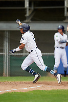 Princeton Rays shortstop Wander Franco (6) runs to first base during the first game of a doubleheader against the Greeneville Reds on July 25, 2018 at Hunnicutt Field in Princeton, West Virginia.  Princeton defeated Greeneville 6-4.  (Mike Janes/Four Seam Images)