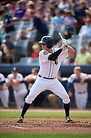 Connecticut Tigers first baseman Jordan Verdon (27) at bat during a game against the Lowell Spinners on August 26, 2018 at Dodd Stadium in Norwich, Connecticut.  Connecticut defeated Lowell 11-3.  (Mike Janes/Four Seam Images)