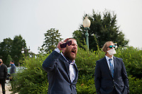 A man shouts at GOP members of Congress as they pass by following a press conference regarding legislation to assist veterans exposed to burn pits, outside the US Capitol in Washington, DC., Tuesday, September 15, 2020. <br /> Credit: Rod Lamkey / CNP /MediaPunch