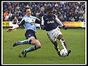25/1/03       Copyright Pic : James Stewart                  .File Name : stewart-falkirk v hearts 11.ALAN MAYBURY CHALLENGES COLLIN SAMUEL.....James Stewart Photo Agency, 19 Carronlea Drive, Falkirk. FK2 8DN      Vat Reg No. 607 6932 25.Office : +44 (0)1324 570906     .Mobile : + 44 (0)7721 416997.Fax     :  +44 (0)1324 570906.E-mail : jim@jspa.co.uk.If you require further information then contact Jim Stewart on any of the numbers above.........
