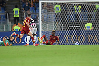 23rd September 2021;  Stadio Olimpicom, Roma, Italy; Serie A League Football, Roma versus Udinese;Tammy Abraham of As Roma scores the goal for 1-0