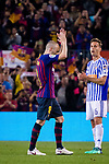 Andres Iniesta of FC Barcelona claps for Barcelona Fans before leaving the field during the La Liga match between Barcelona and Real Sociedad at Camp Nou on May 20, 2018 in Barcelona, Spain. Photo by Vicens Gimenez / Power Sport Images