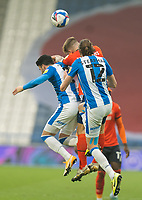 7th November 2020 The John Smiths Stadium, Huddersfield, Yorkshire, England; English Football League Championship Football, Huddersfield Town versus Luton Town; Richard Stearman of Huddersfield Town challenges for a header with Pipa of Huddersfield Town with James Collins of Luton Town