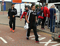Wednesday 28 August 2013<br /> Pictured: Pablo Hernandez arriving at Cardiff Airport.<br /> Re: Swansea City FC players and staff en route for their UEFA Europa League, play off round, 2nd leg, against Petrolul Ploiesti in Romania.
