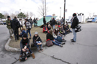 Montreal (QC) CANADA - April 10 2012 - Quebec students on strike againt tuition fees increase, set up a camping in front of Quebec Government builing at 600 Fullum.