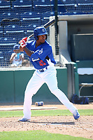 Darien Tubbs (43) of the Rancho Cucamonga Quakes bats against the Stockton Ports at LoanMart Field on May 28, 2017 in Rancho Cucamonga, California. Stockton defeated Rancho Cucamonga, 7-4. (Larry Goren/Four Seam Images)