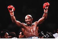 1985; Las Vegas, Nevada, USA; MARVIN HAGLER celebrates his win over Thomas Hearns, Las Vegas 1985.