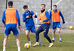 St Johnstone Training....30.04.21<br />Liam Craig pictured with lex Ferguson during training at McDiarmid Park ahead of tomorrows game at Hibs.<br />Picture by Graeme Hart.<br />Copyright Perthshire Picture Agency<br />Tel: 01738 623350  Mobile: 07990 594431