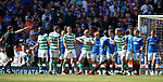 12.05.2019 Rangers v Celtic: Scott Brown gestures for an elbow