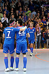 GER - Mannheim, Germany, December 12: Players of Mannheimer HC celebrate after winning the derby against TSV Mannheim on December 12, 2015 at Irma-Roechling-Halle in Mannheim, Germany. Final score 5-0 (HT 1-0). (Photo by Dirk Markgraf / www.265-images.com) *** Local caption *** Tino Nguyen Luong #7 of Mannheimer HC, Danny Nguyen Luong #22 of Mannheimer HC