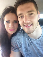Pictured: Joe Day (R) with partner Lizzie (L).<br /> Re: Newport County goalkeeper Joe Day made a quick exit after his side's FA Cup match celebrations after learning his wife Lizzie had gone into labour.<br /> Immediately afterthe final whistle of the fourth-round replay at Rodney Parade in south Wales, the 28 year old was seen running off the pitch after helping his League Two team to a 2-0 win over Championship side Middlesbrough.