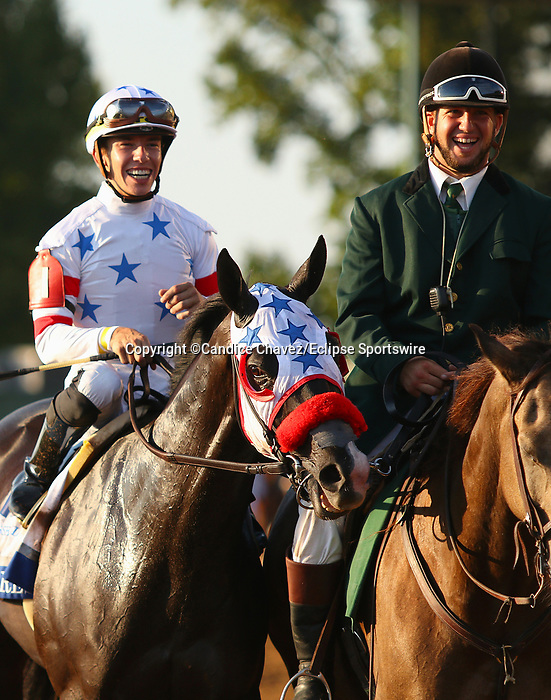 """October 06, 2018 : #1 Next Shares and jockey Tyler Gaffalione win the 33rd running of The Shadwell Turf Mile (Grade 1) $1,000,000 """"Win and You're In Breeders' Cup Mile Division"""" for trainer Richard Baltas at Keeneland Race Course on October 06, 2018 in Lexington, KY.  Candice Chavez/ESW/CSM"""