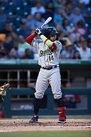 William Contreras (14) of the Gwinnett Stripers at bat against the Charlotte Knights at Truist Field on July 17, 2021 in Charlotte, North Carolina. (Brian Westerholt/Four Seam Images)