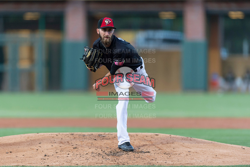 El Paso Chihuahuas starting pitcher Dillon Overton (8) during a Pacific Coast League game against the Albuquerque Isotopes at Southwest University Park on May 10, 2019 in El Paso, Texas. Albuquerque defeated El Paso 2-1. (Zachary Lucy/Four Seam Images)