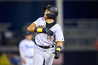 Bradenton Marauders Dariel Lopez (52) gestures to the bullpen as he rounds the bases after hitting a home run during Game Three of the Low-A Southeast Championship Series against the Tampa Tarpons on September 24, 2021 at George M. Steinbrenner Field in Tampa, Florida.  (Mike Janes/Four Seam Images)