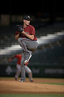 AZL Diamondbacks relief pitcher Brian Ellington (40) delivers a pitch during an Arizona League game against the AZL Angels at Tempe Diablo Stadium on June 27, 2018 in Tempe, Arizona. The AZL Angels defeated the AZL Diamondbacks 5-3. (Zachary Lucy/Four Seam Images)