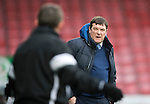 Ross County v St Johnstone…18.02.17     SPFL    Global Energy Stadium, Dingwall<br />Tommy Wright has wordsa with Billy Dodds<br />Picture by Graeme Hart.<br />Copyright Perthshire Picture Agency<br />Tel: 01738 623350  Mobile: 07990 594431