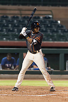 AZL Giants Black right fielder Randy Norris (1) at bat during an Arizona League game against the AZL Rangers at Scottsdale Stadium on August 4, 2018 in Scottsdale, Arizona. The AZL Giants Black defeated the AZL Rangers by a score of 6-3 in the second game of a doubleheader. (Zachary Lucy/Four Seam Images)