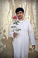 A gardener holds a pink rose.