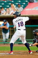 Maikel Franco (18) of the Lakewood BlueClaws at bat against the Kannapolis Intimidators at FirstEnergy Park on August 8, 2012 in Lakewood, New Jersey.  The BlueClaws defeated the Intimidators 5-0.  (Brian Westerholt/Four Seam Images)