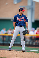 Danville Braves starting pitcher Matt Rowland (27) looks in for the sign during a game against the Johnson City Cardinals on July 28, 2018 at TVA Credit Union Ballpark in Johnson City, Tennessee.  Danville defeated Johnson City 7-4.  (Mike Janes/Four Seam Images)